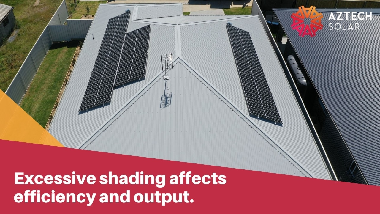 Excessive shading affects efficiency and output.